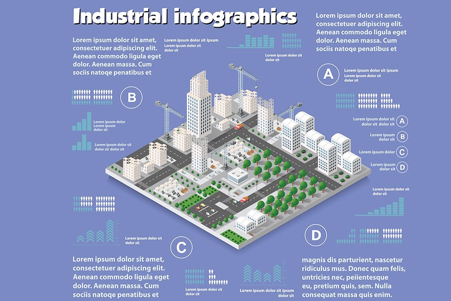 An industrial infographic that includes many elements to describe construction work.