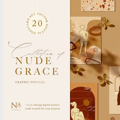 Nude Grace Modern Vector Set: 20 Nude Vector Elements & 20 Postcards - 600 10 490x490