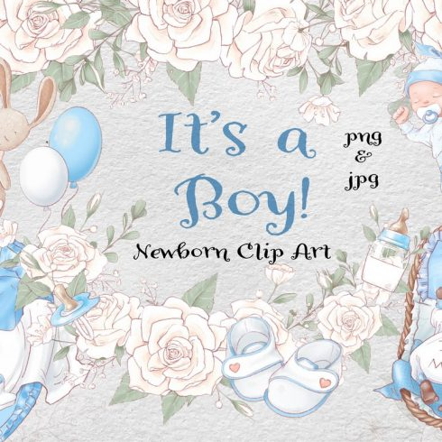 Clipart Boy for Baby shower, Children's Room & Parties - 601 2 490x490