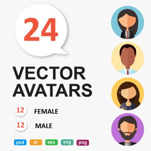 24 People Cartoon PNG: Avatars Cartoon People Vector Business - 601 9 490x490