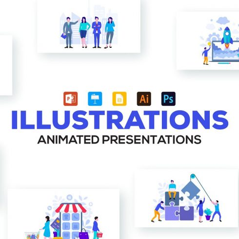 20 Flat Illustrations Animated Presentation - 607 490x490