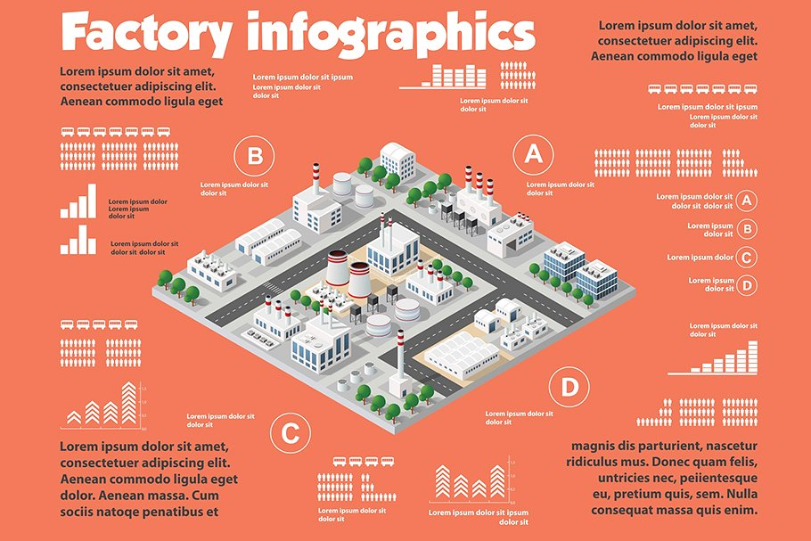 Factory infographics that will help to convey in the simplest possible form all the important aspects of this area.