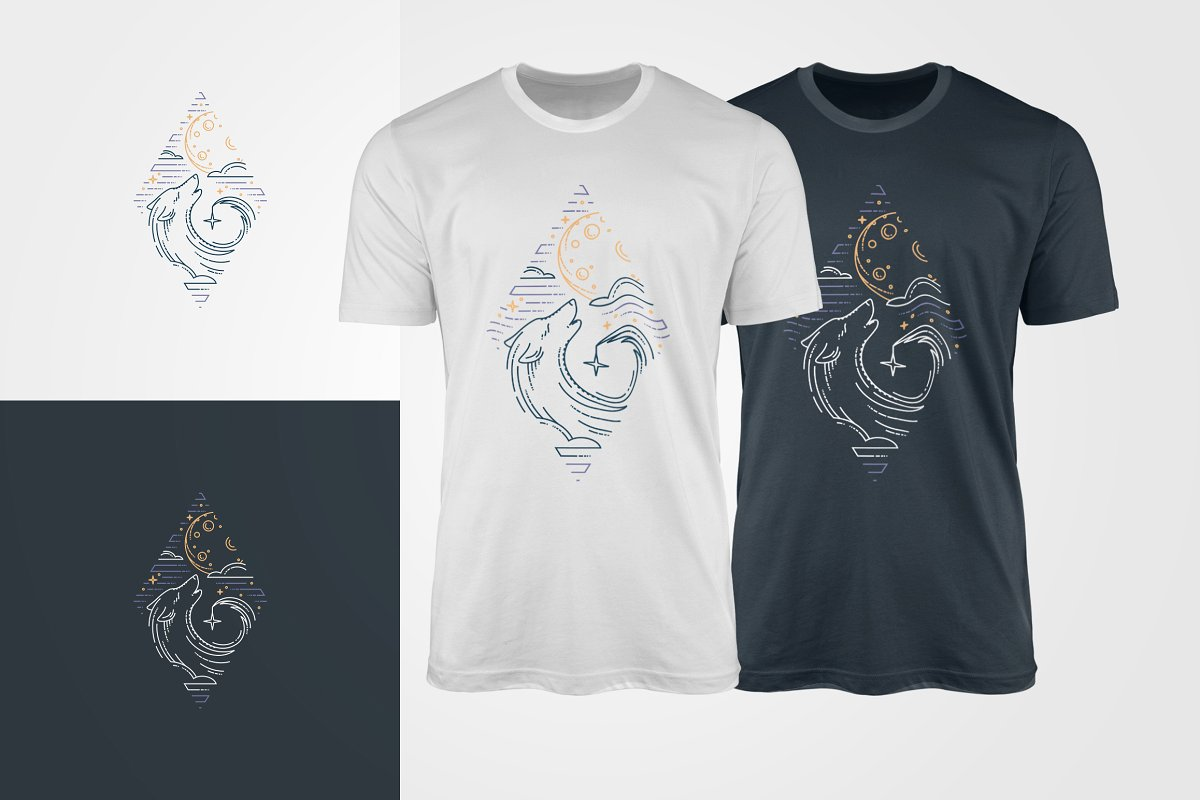 T-shirts with wild wolf.