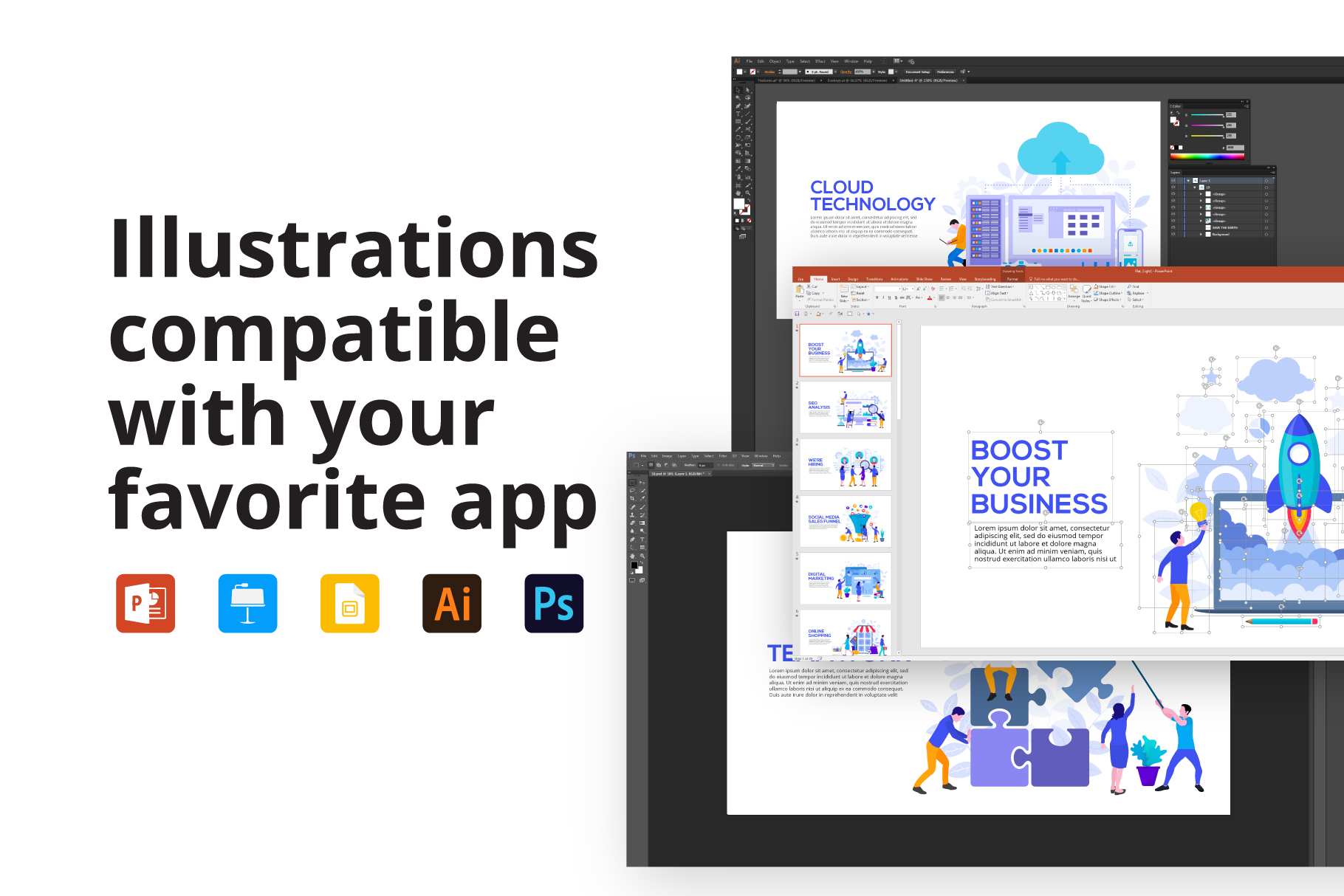 20 Flat Illustrations Animated Presentation - Features