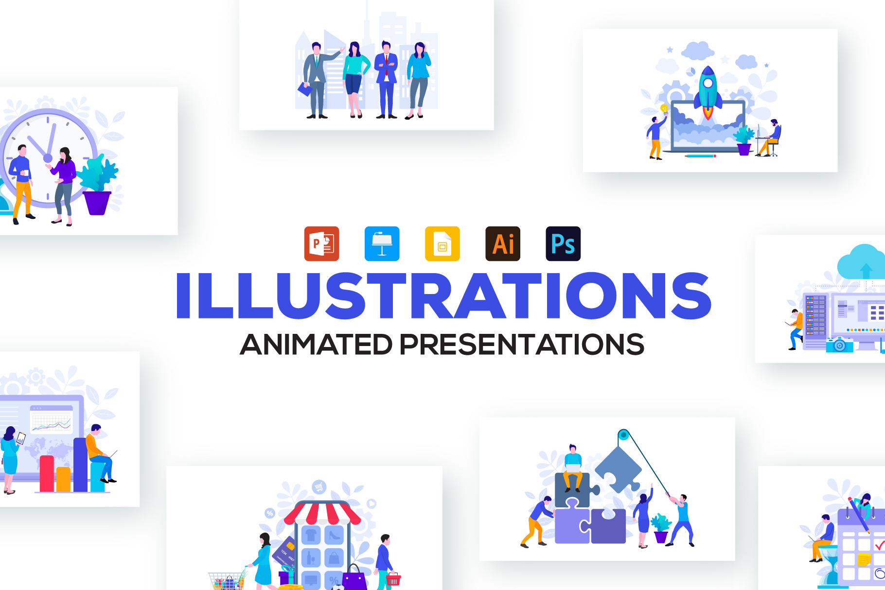20 Flat Illustrations Animated Presentation - Illustrations