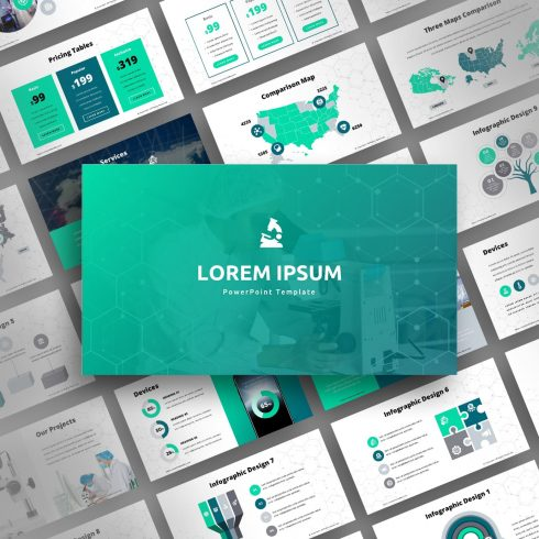 Science PowerPoint presentation template with different variations of slides.