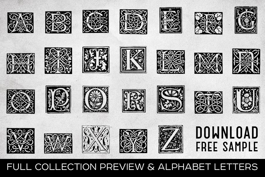 2882 Vintage Letters Collection (28 IN 1) - free sample