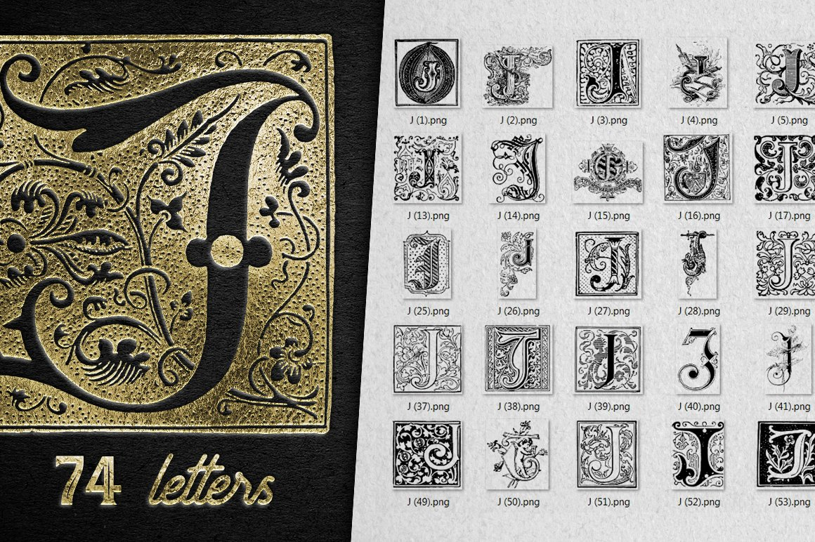 2882 Vintage Letters Collection (28 IN 1) - j