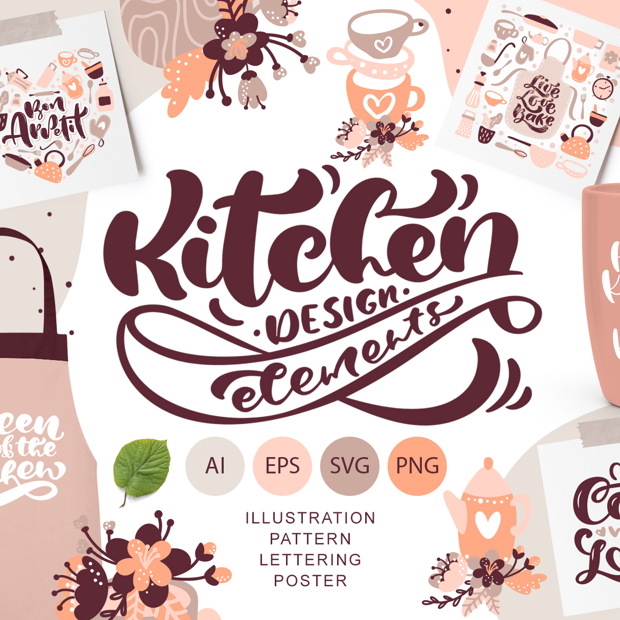 138 Vintage Abstract flowers SVG - kitchen