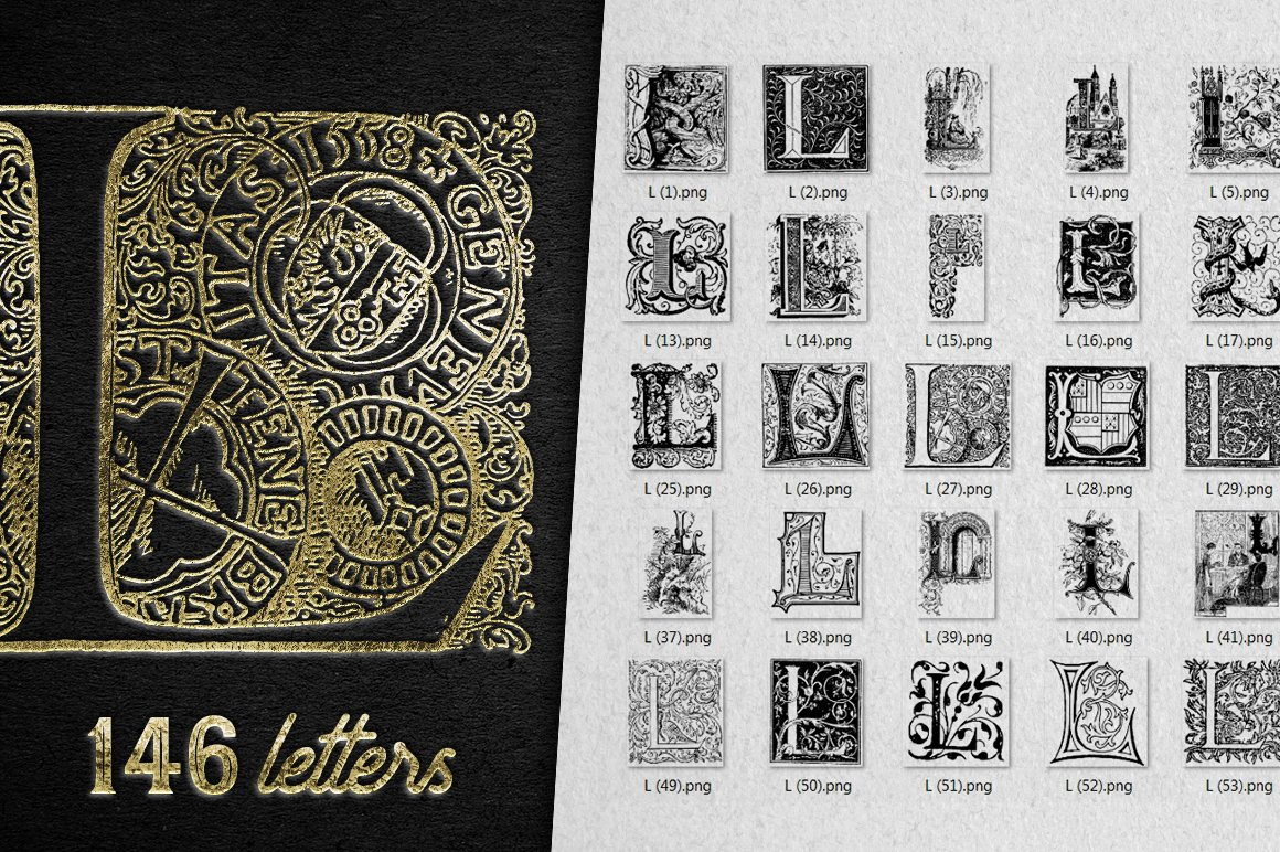 2882 Vintage Letters Collection (28 IN 1) - l