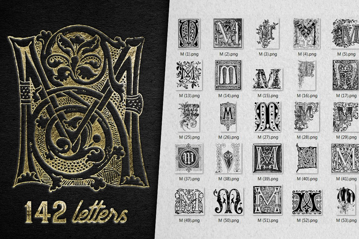 2882 Vintage Letters Collection (28 IN 1) - m