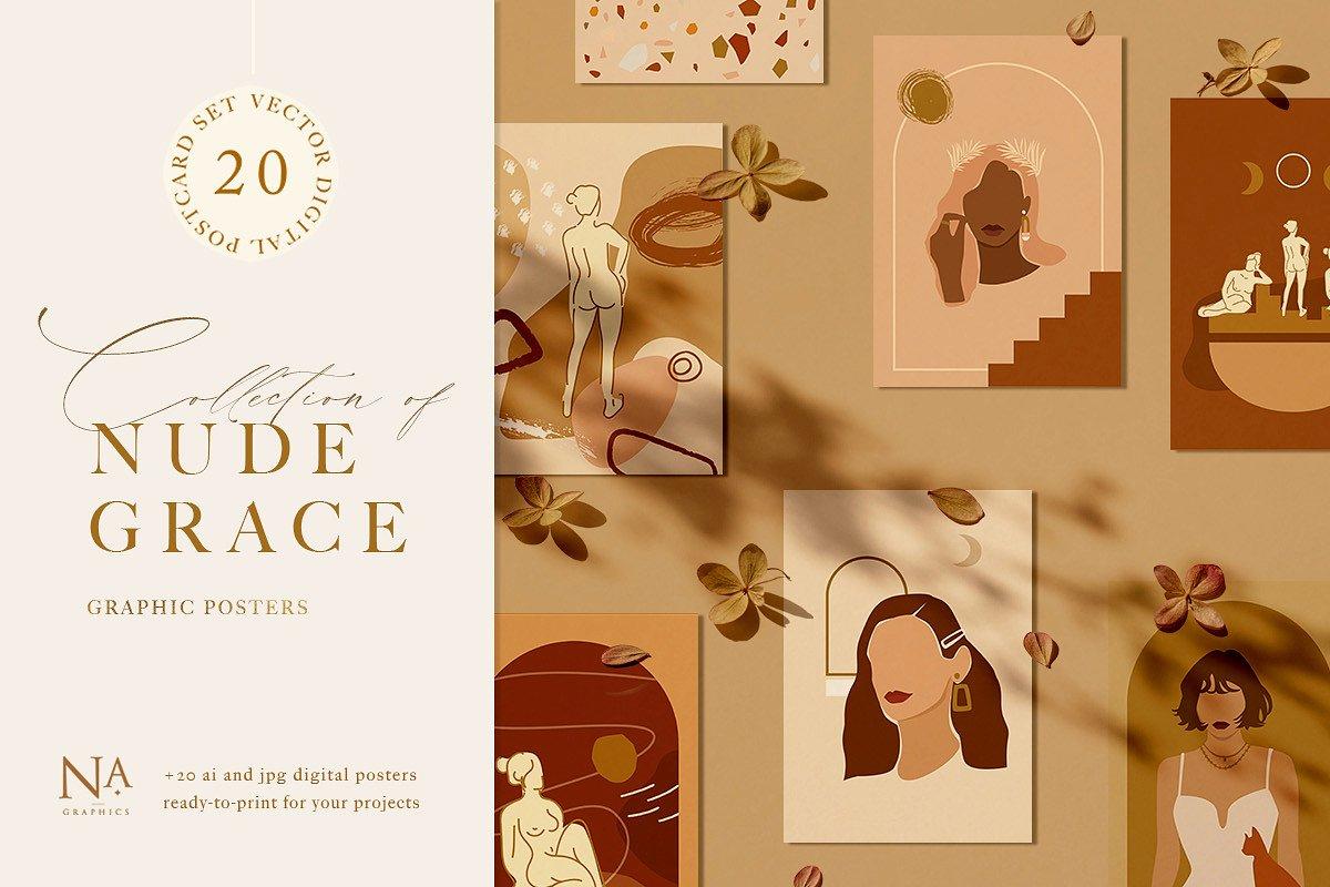 Nude Grace Modern Vector Set: 20 Nude Vector Elements & 20 Postcards - main