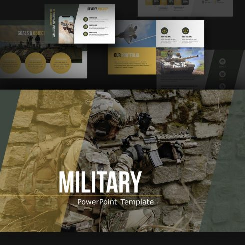Military PowerPoint Template with thematic pictures with the needed slides.
