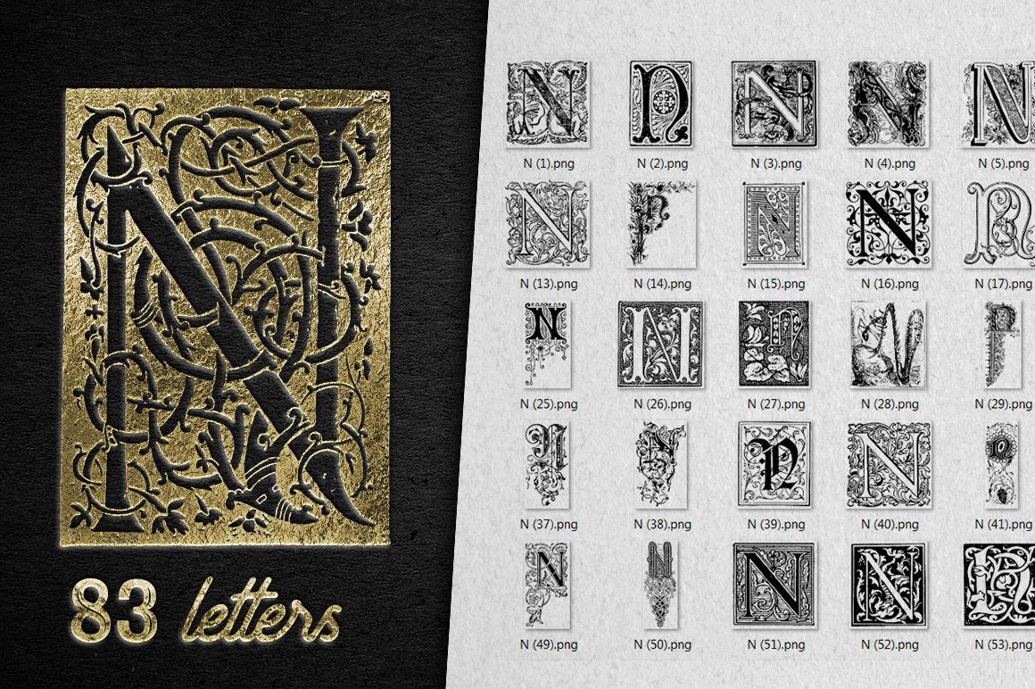 2882 Vintage Letters Collection (28 IN 1) - n