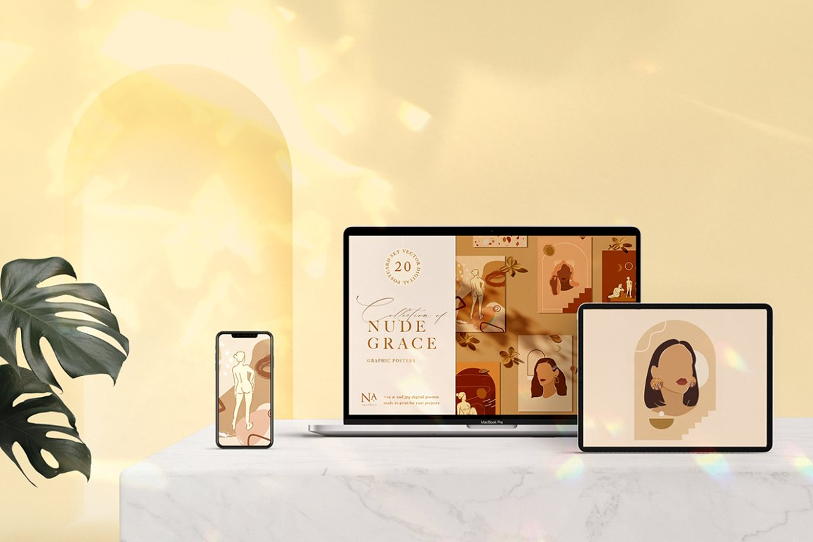 Nude Grace Modern Vector Set: 20 Nude Vector Elements & 20 Postcards - prev11