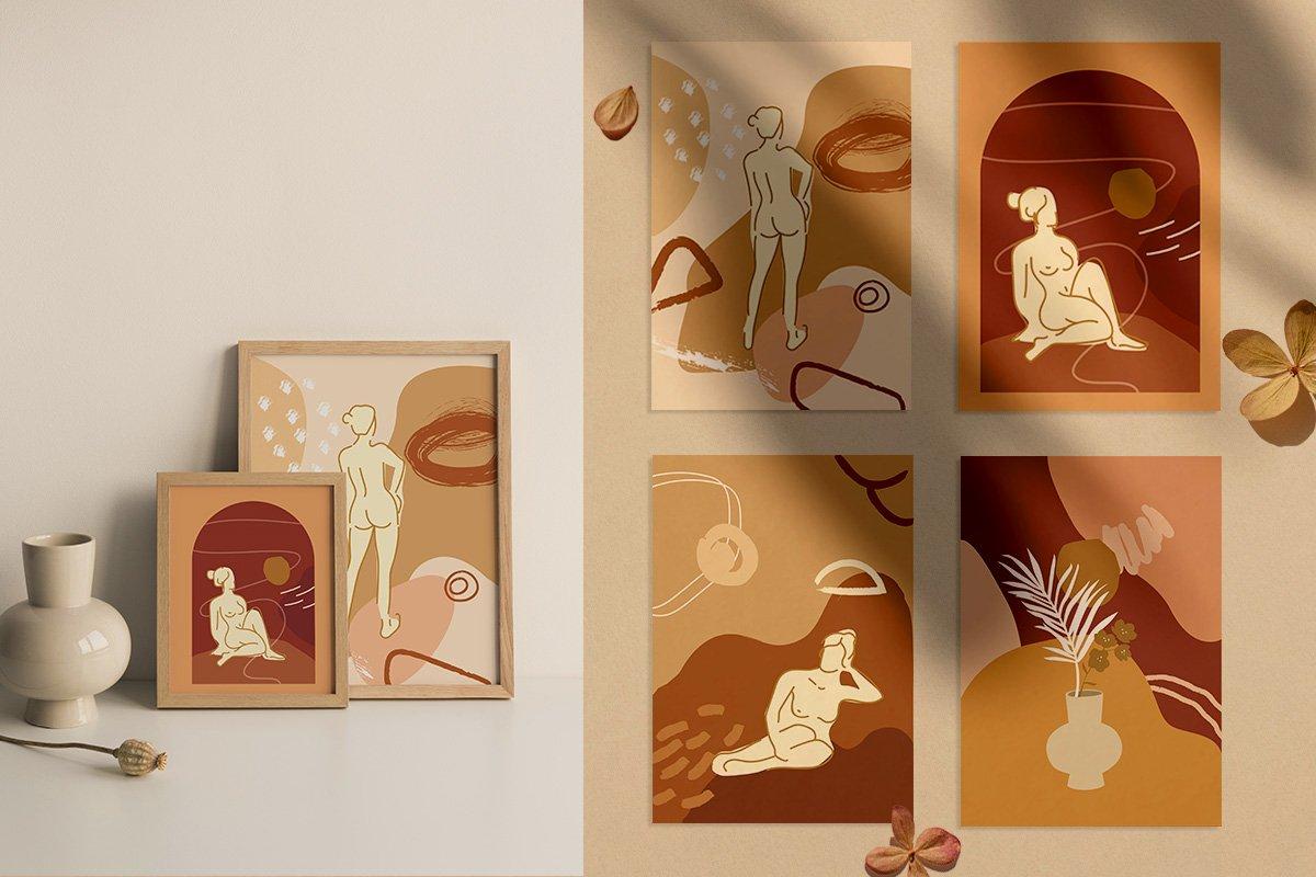 Nude Grace Modern Vector Set: 20 Nude Vector Elements & 20 Postcards - prev2
