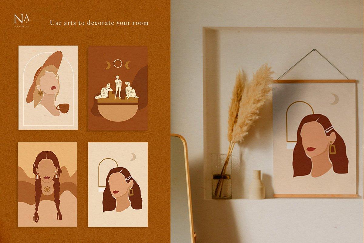 Nude Grace Modern Vector Set: 20 Nude Vector Elements & 20 Postcards - prev6