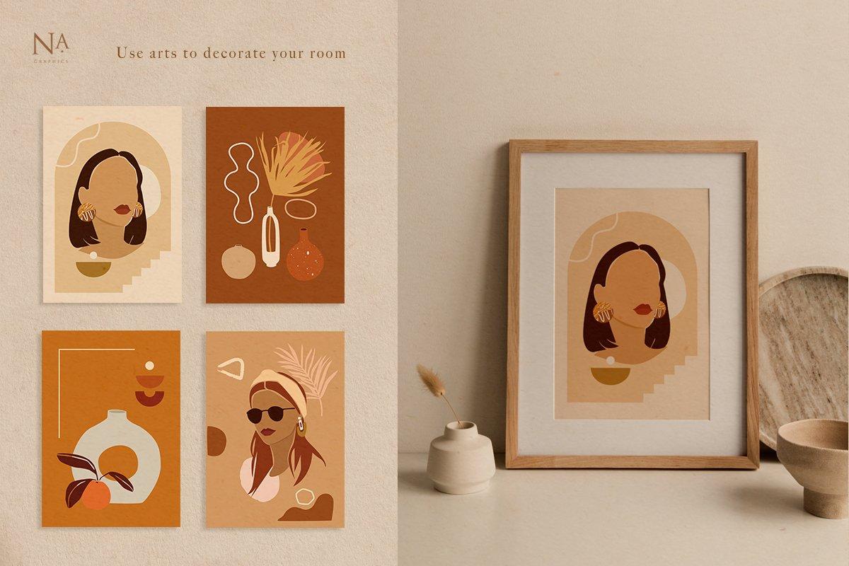 Nude Grace Modern Vector Set: 20 Nude Vector Elements & 20 Postcards - prev8