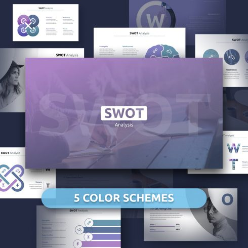 SWOT Analysis Template Powerpoint 2020: 40 Unique Slides & 5 Color Schemes - preview 01 490x490