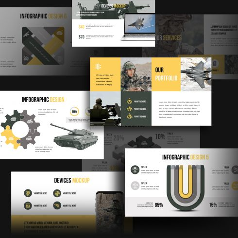 A variety of slides in military theme.