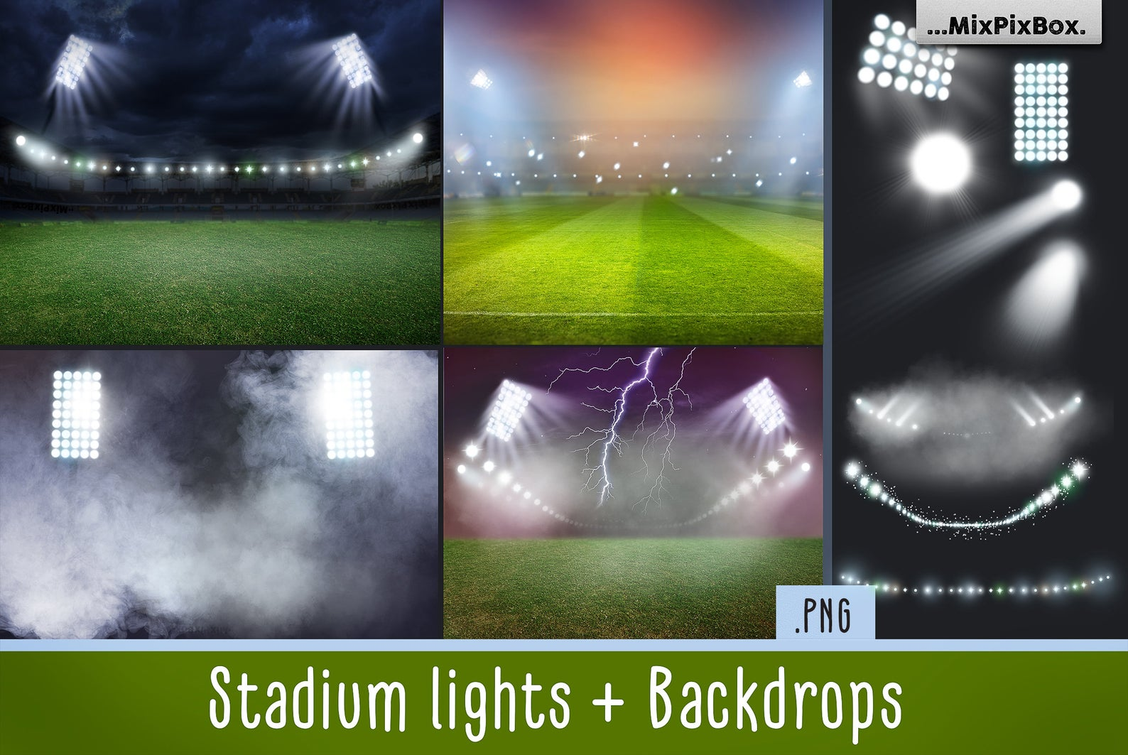 20 Stadium Lights Overlays + 6 Backdrops - stadium lights first image
