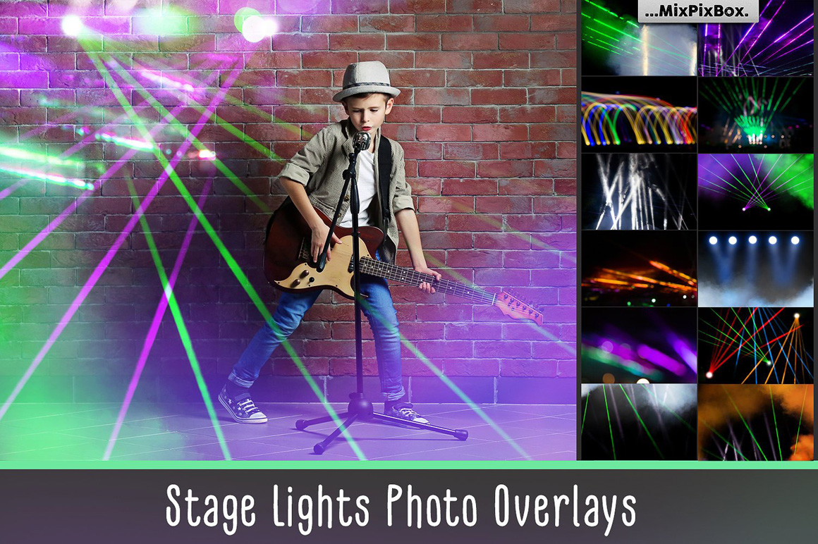 45 Lights Overlays: Stage Lights Photoshop - stage lights first image