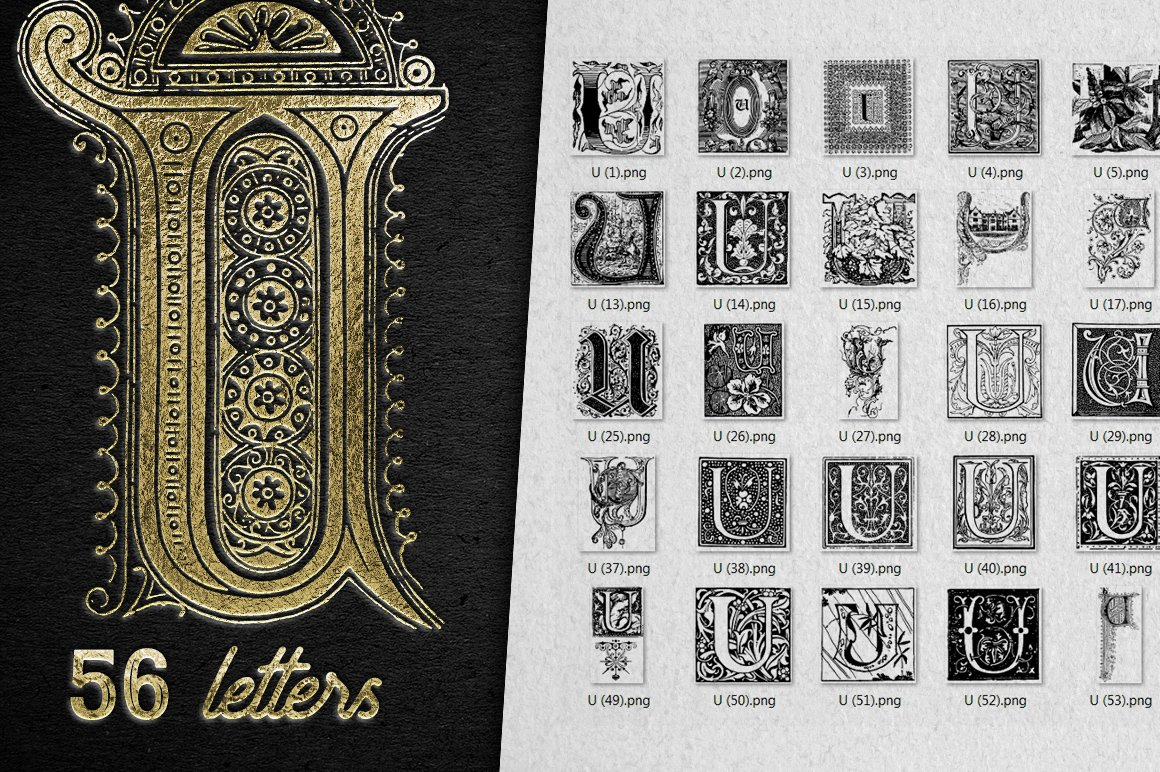 2882 Vintage Letters Collection (28 IN 1) - u