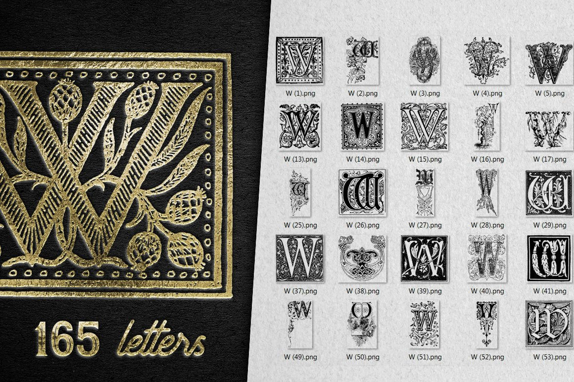2882 Vintage Letters Collection (28 IN 1) - w