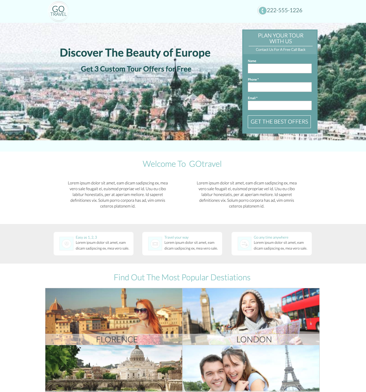 GoTravel Agency Unbounce Template.