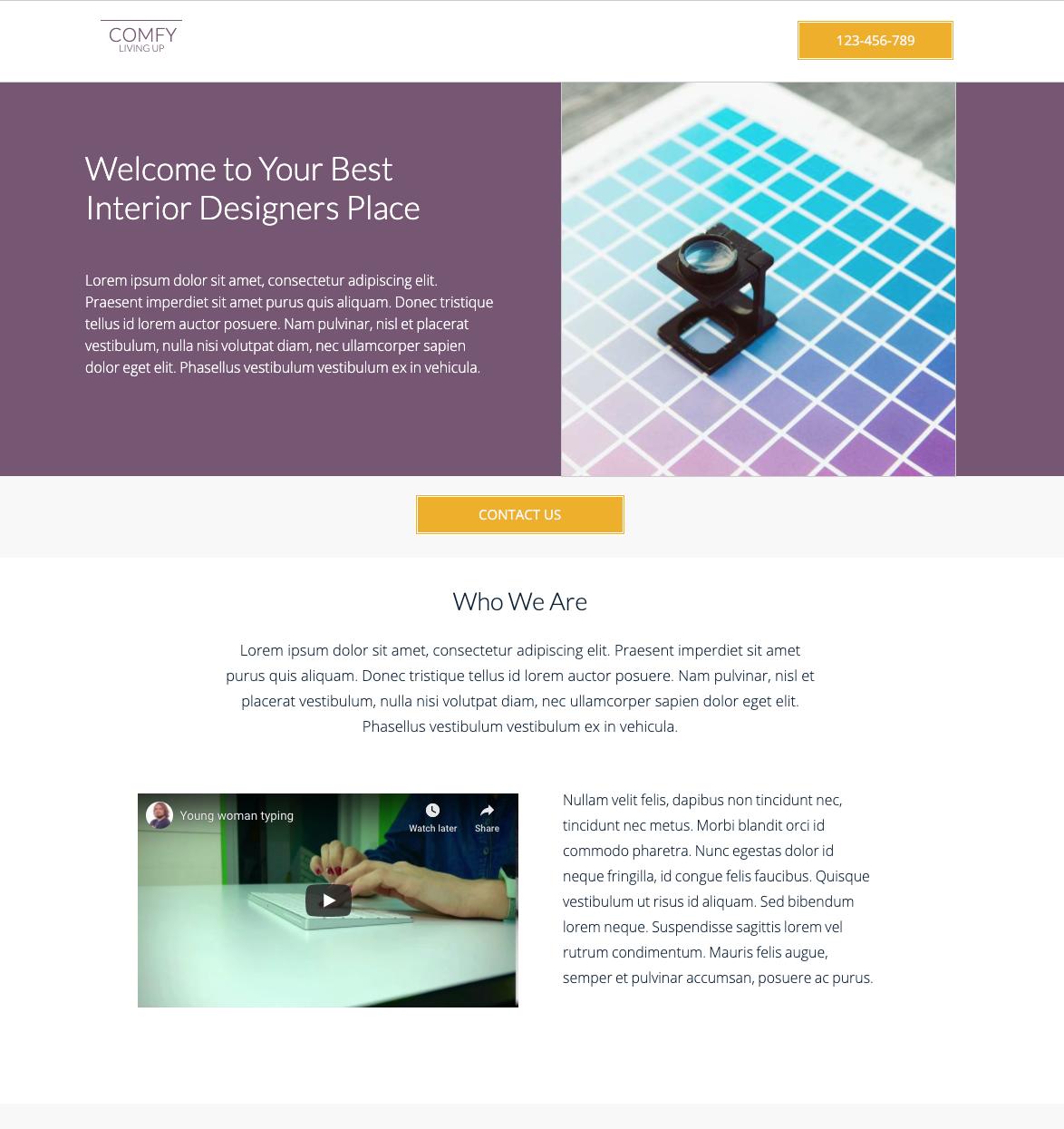 Interior Design Studio Unbounce Template.