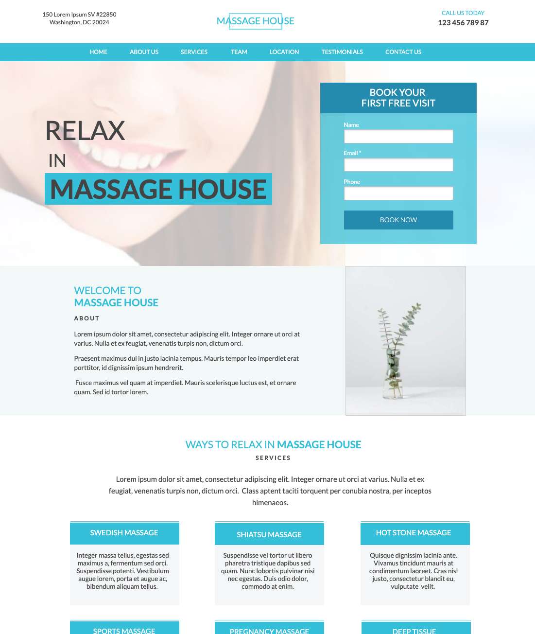 Massage Therapist Business Unbounce Template.