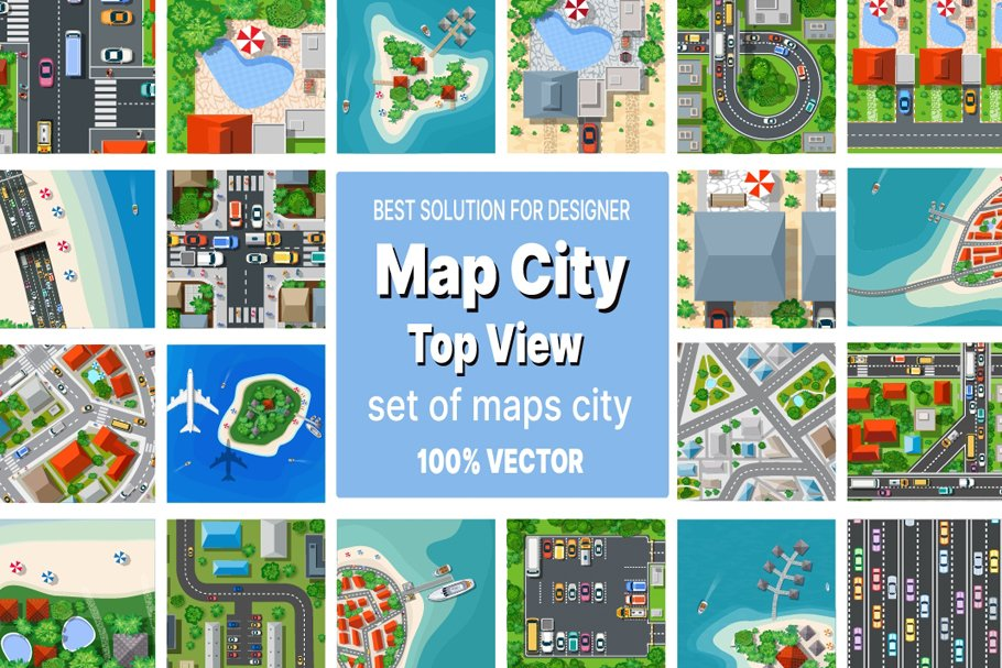Map Clipart: a Set of Vector Maps Top View - 1
