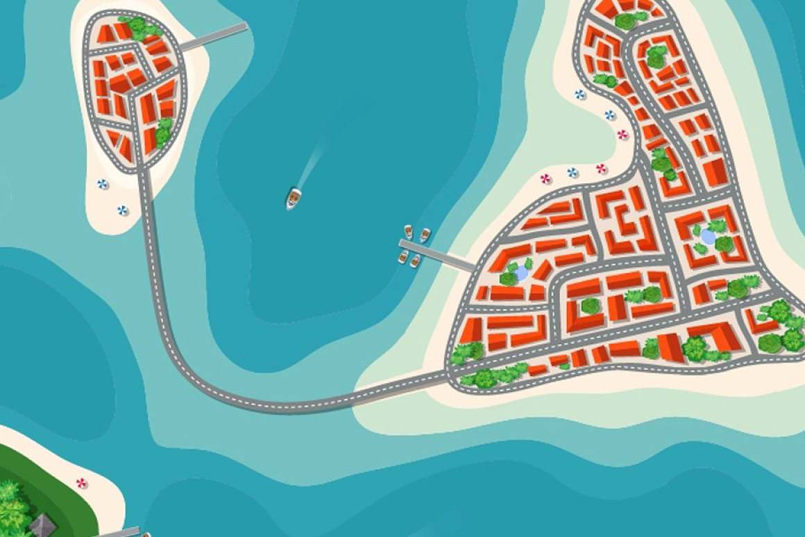 Map Clipart: a Set of Vector Maps Top View - 10