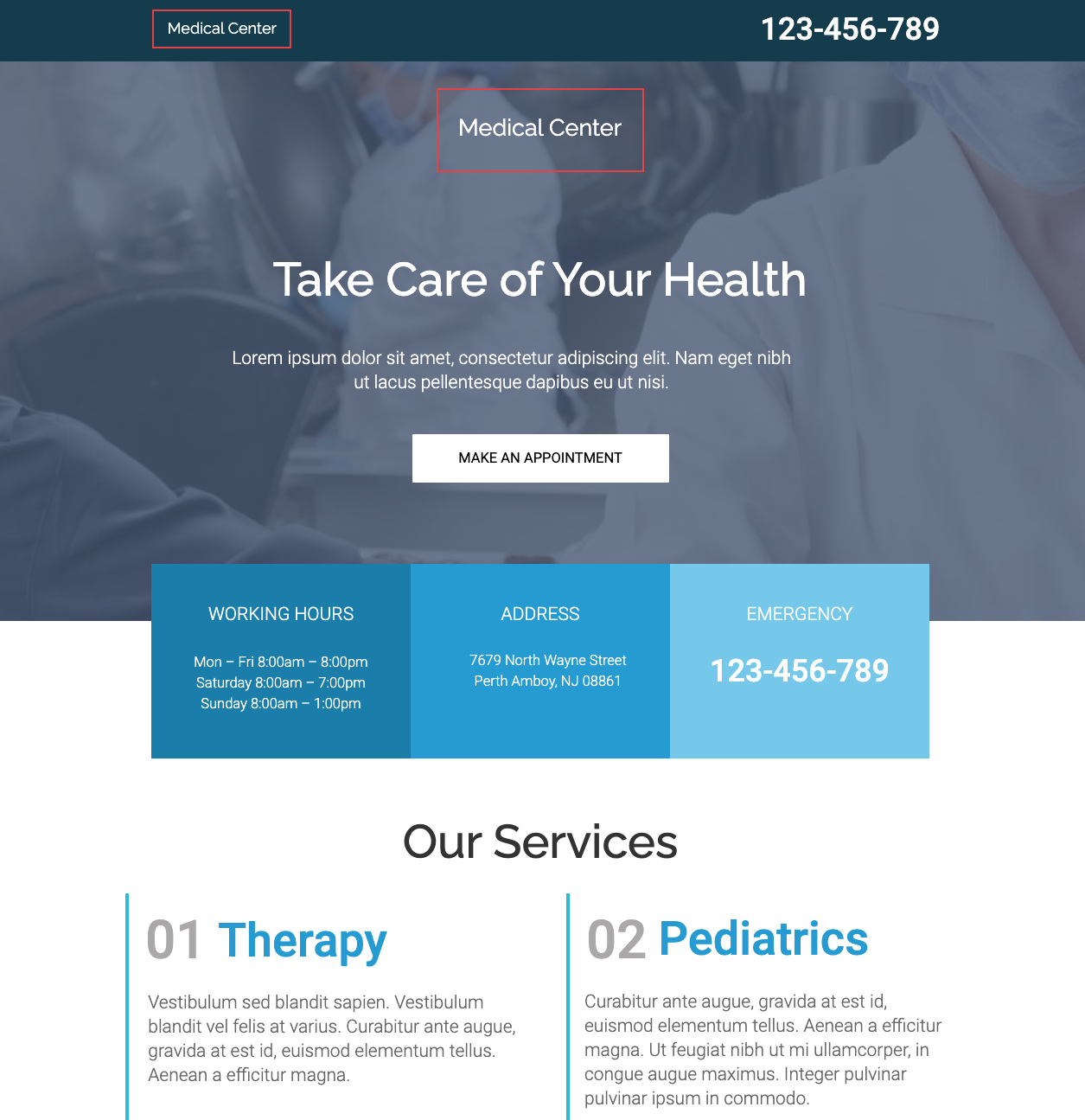Medical Center Unbounce Template