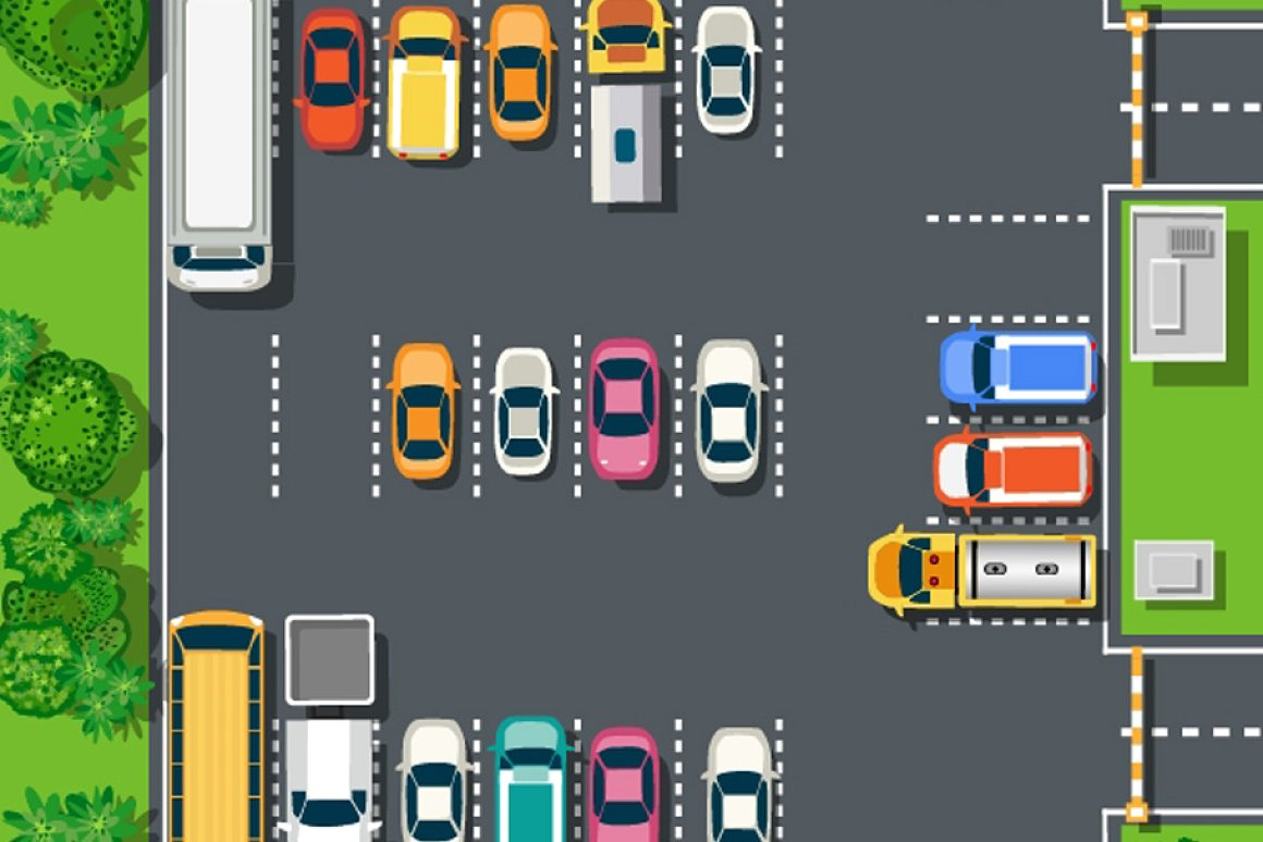 Top view of the road with cars.