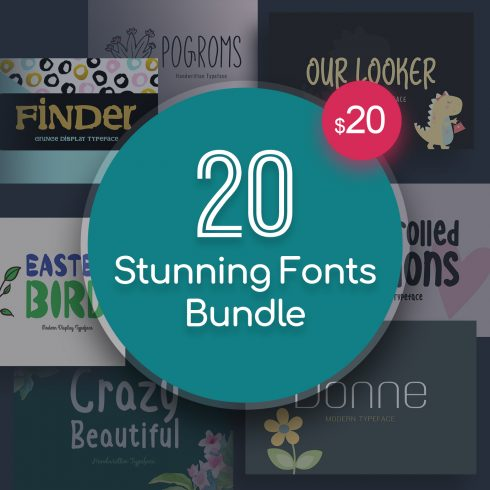 20 Stunning Fonts Bundle - $20 - 20 stunning fonts bundle 01 490x490