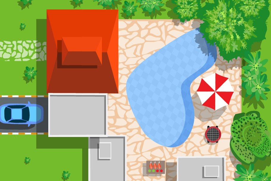 Map Clipart: a Set of Vector Maps Top View - 3