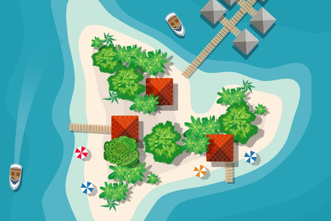 Map Clipart: a Set of Vector Maps Top View - 4