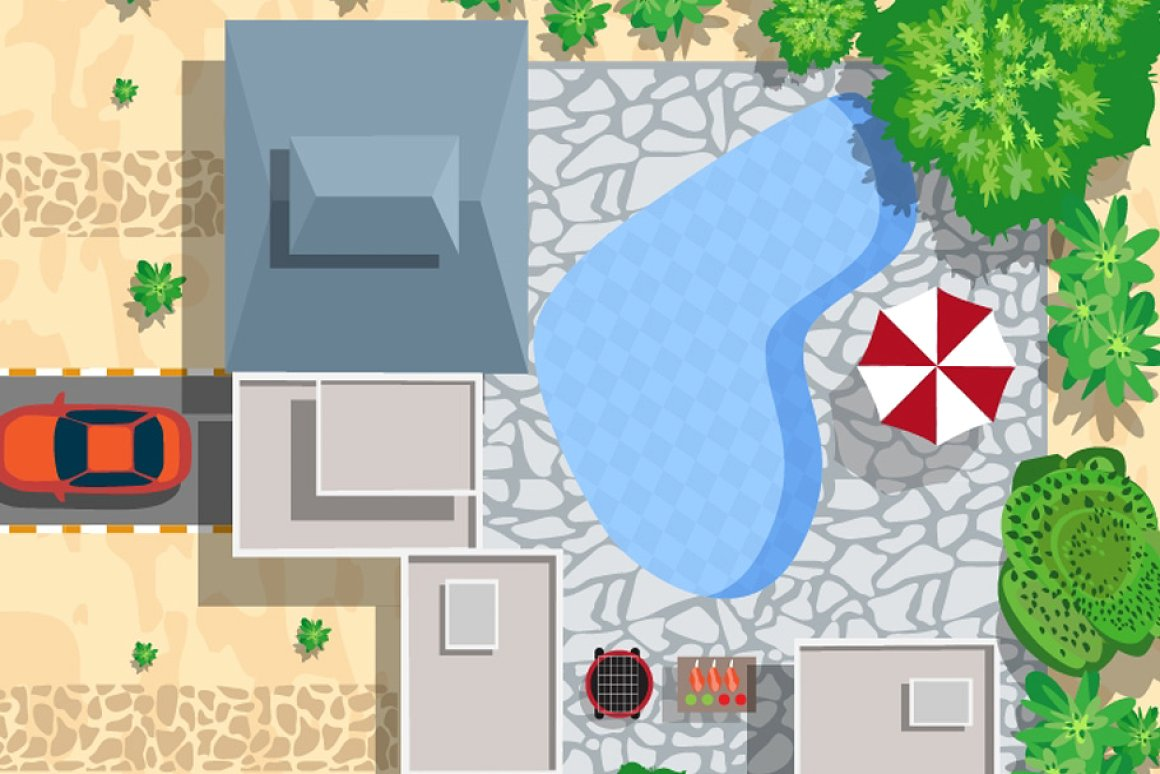 Map Clipart: a Set of Vector Maps Top View - 5