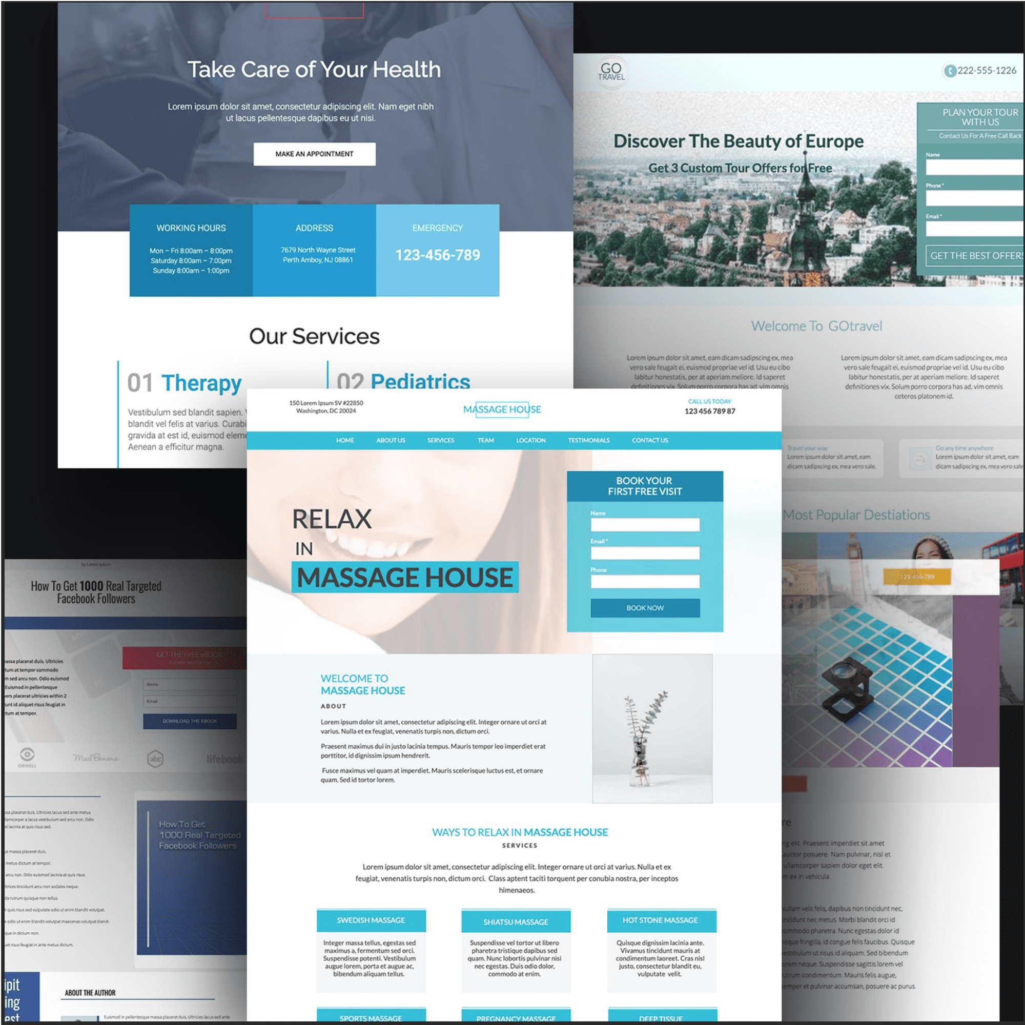 Examples of multiple unbounce portfolio templates are tiled.