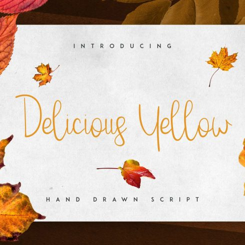 Delicious Yellow Script: Yellow Subtitle Font - 601 4 490x490