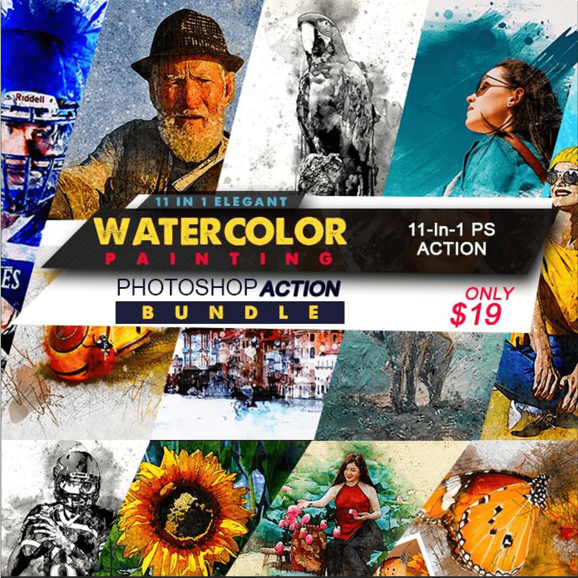 Elegant Watercolor Photoshop Actions Bundle