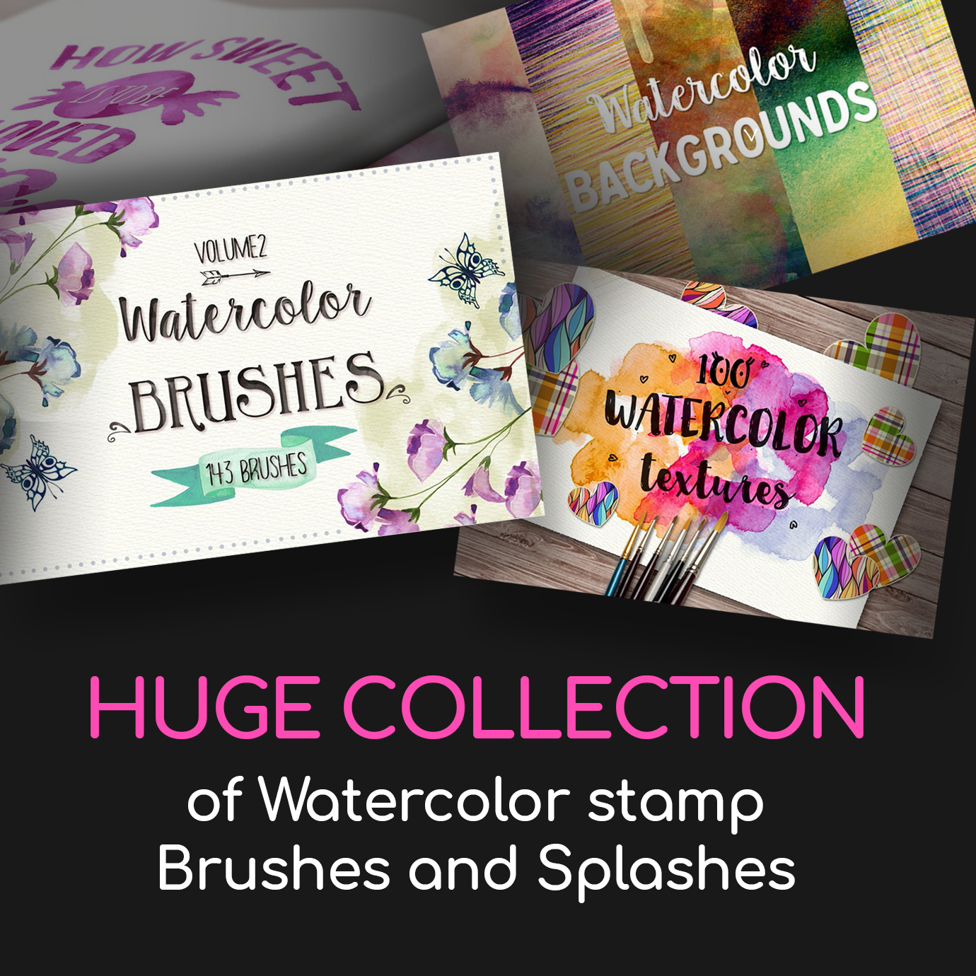 Huge Collection of Watercolor stamp Brushes and Splashes
