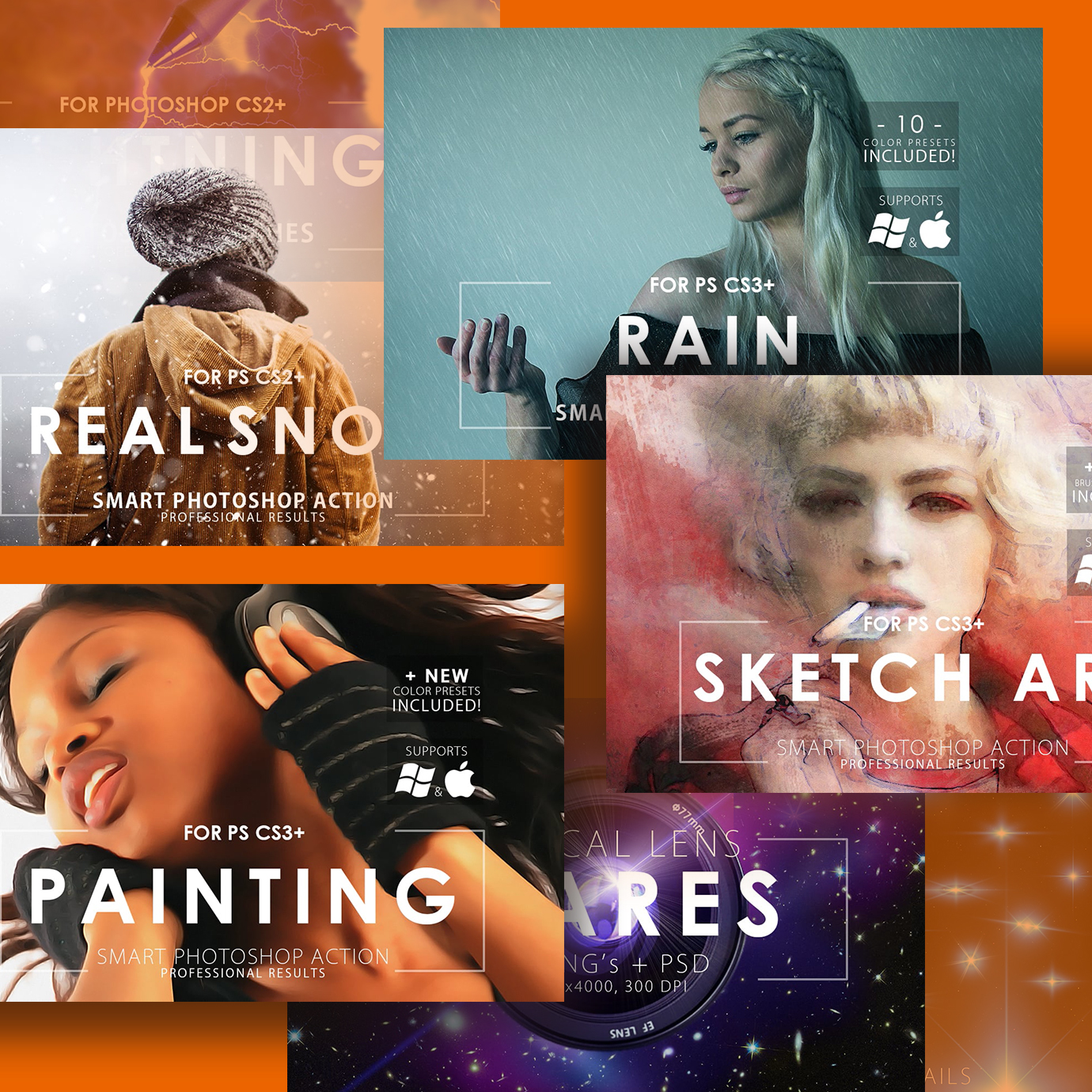 Mega Graphics Bundle: Photoshop Actions, Brushes, Overlays previews