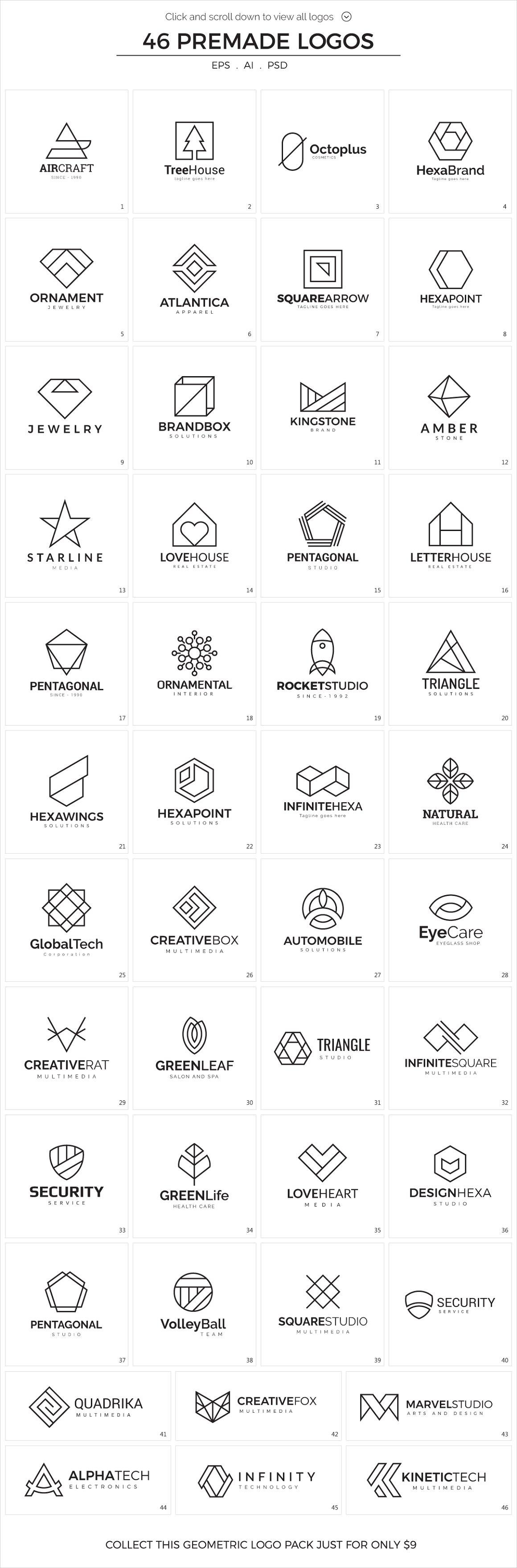 110 Geometric Logo Pack - logofolio