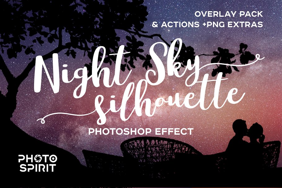 Night Sky Photoshop Actions - night sky silhouette actions 00
