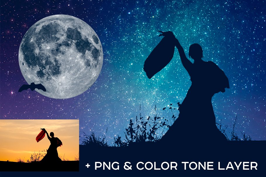 Night Sky Photoshop Actions - night sky silhouette actions 2