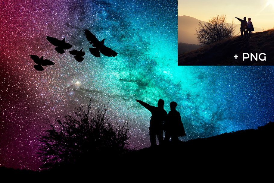 Night Sky Photoshop Actions - night sky silhouette actions 3
