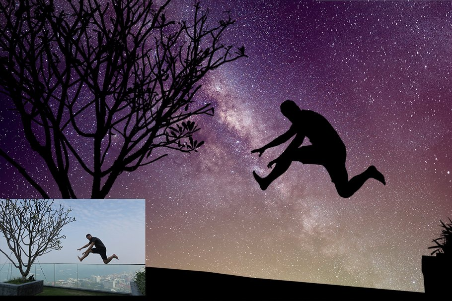 Night Sky Photoshop Actions - night sky silhouette actions 4