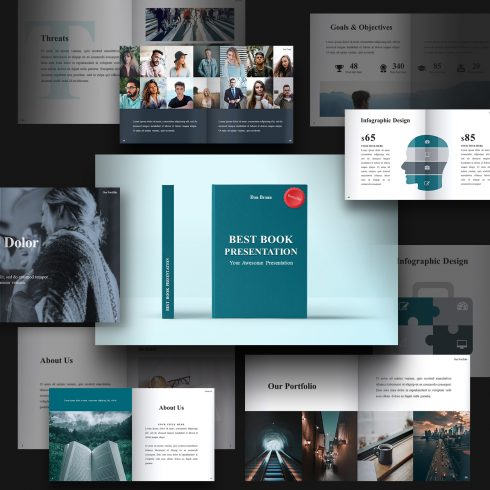 Best Book Presentation: Book Powerpoint Template 50 Slides - preview 490x490